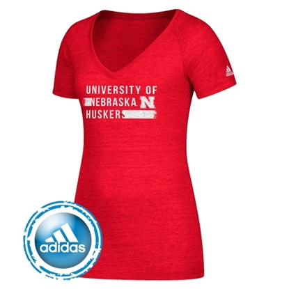 Picture of Nebraska Adidas® Ladies Feature Length Tri-Blend Short Sleeve Shirt