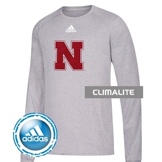 Picture of Nebraska Adidas® Youth Sideline Sequel Climalite Long Sleeve Shirt