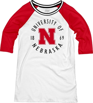 Picture of Nebraska Blue 84® Ladies Avery Raglan Varsity Tunic