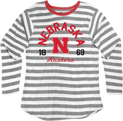 Picture of Nebraska Blue 84® Ladies Nadine Long Sleeve Stripe Tee