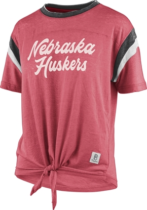 Picture of Nebraska Pressbox®  Ladies Juniper Front Tie Short Sleeve Shirt